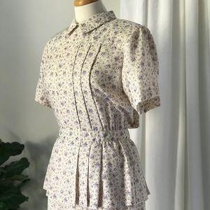 Vintage Katie Lewis Peplum Floral Midi Dress